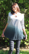 Washed Ombre Striped Tunic, Ivory