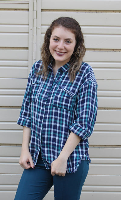 Plaid Button Up Top, Teal