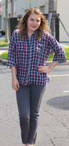 Plaid Button Up Top, Navy