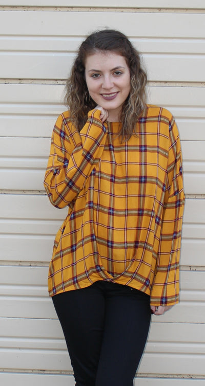 Plaid Gathered Top, Mustard Mix