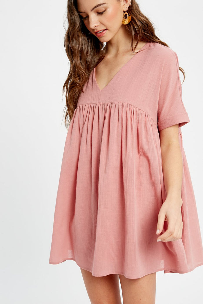 listicle v-neck babydoll mini dress