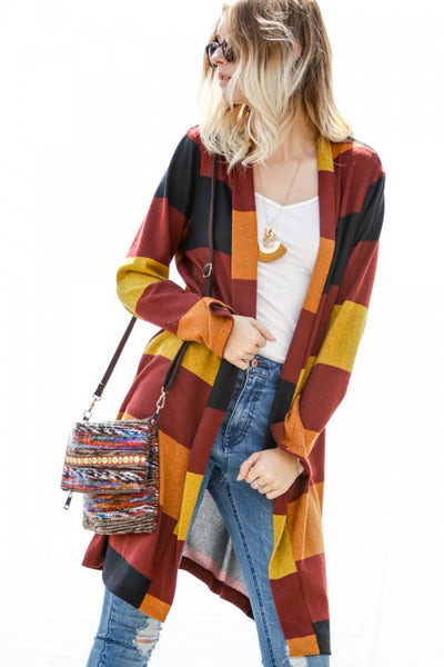 The 3 C's Striped Cardigan, Burgundy
