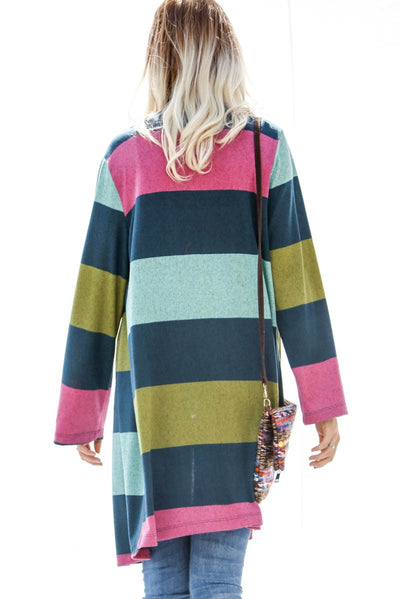 The 3 C's Striped Cardigan, Teal