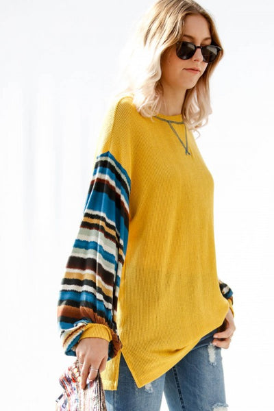 Tribal Striped Sleeve Knit Top, Mustard