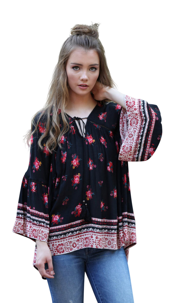 Floral Print Peasant Top, Black & Red
