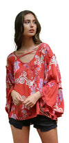 Floral Ruffle Seam Bell Sleeve Tunic, Watermelon