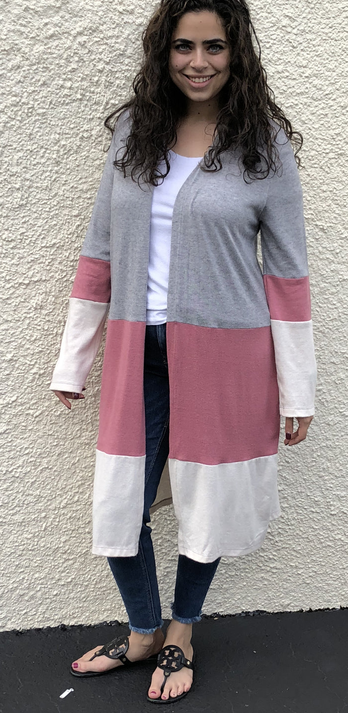 Cozy Color Block Cardigan, Heather Grey