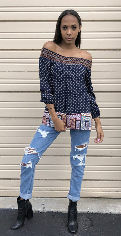 Twin Print Off the Shoulder Top, Navy