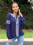 Coming Up Daisies Embroidered Top, Navy