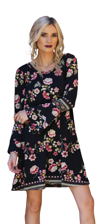 Floral Double Ruffle Sleeve Open Back Dress, Black