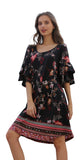Floral Double Ruffle Sleeve Dress, Black