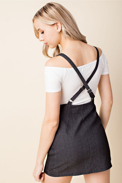 Zip Up Overall Dress, Black