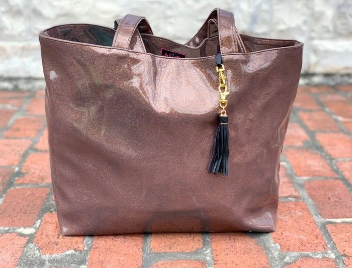 Makeup Junkie Bourbon Glitter Tote (NATURAL CREASES DUE TO WEATHERING OF FABRIC)