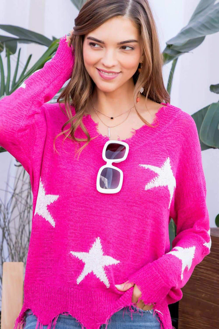 main strip Frayed Edge Star Print Sweater
