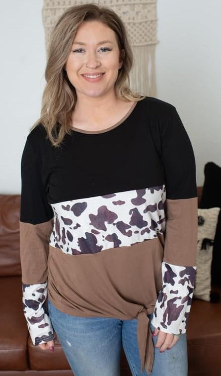 Color Block Cow Knot Top