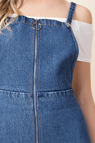 Zip Up Overall Dress, Denim