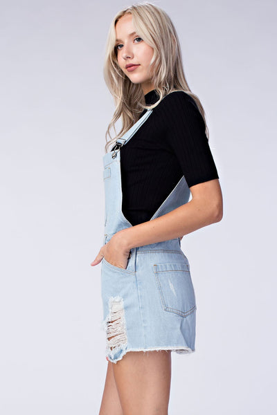 Denim Distressed Overalls, Light Denim