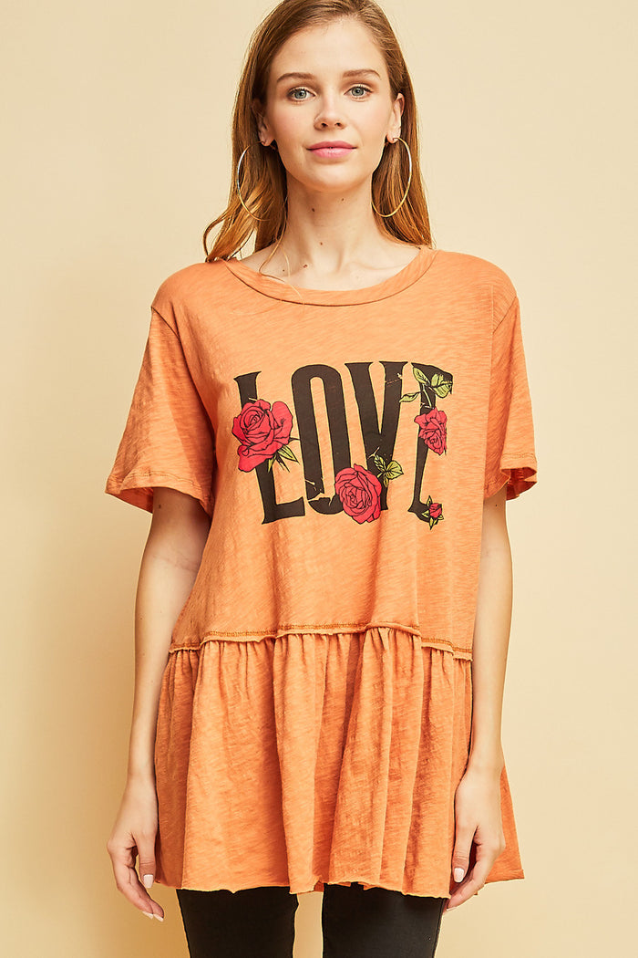 Love graphic peplum top entro