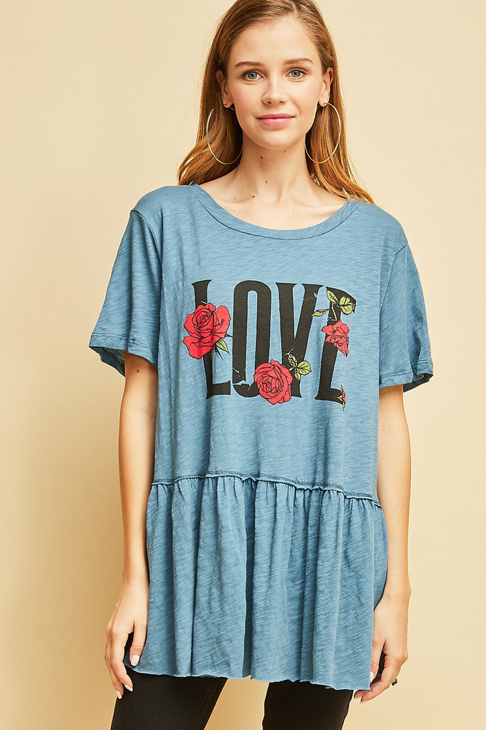 entro love graphic peplum top