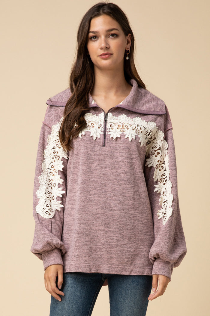 All About the Lace Pullover,  Mauve
