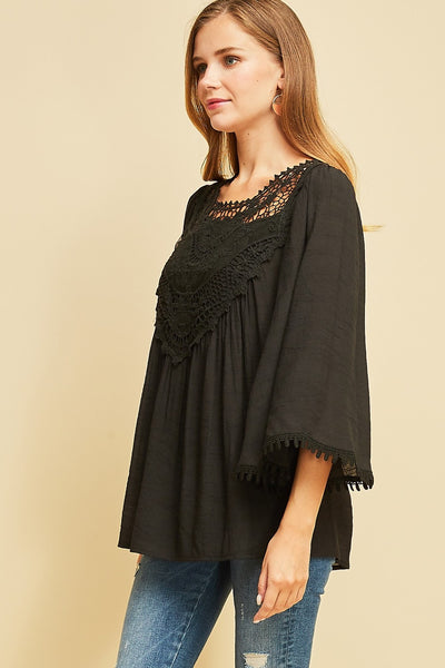 Crochet Lace Flare Sleeve Top, Black