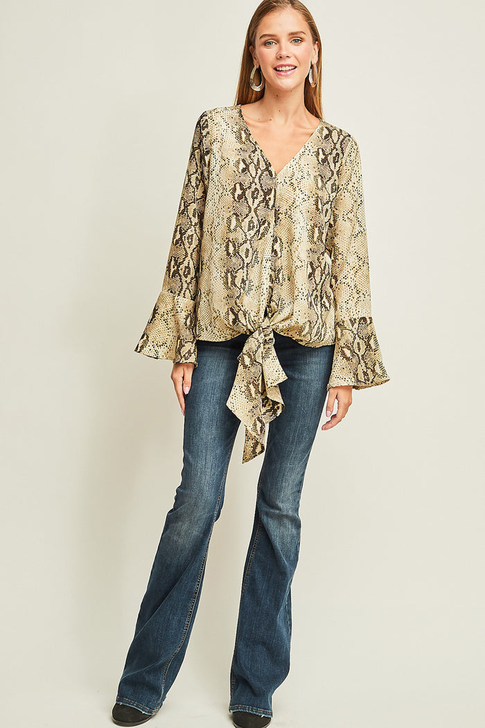 Snakeskin Bell Sleeve Top, Taupe