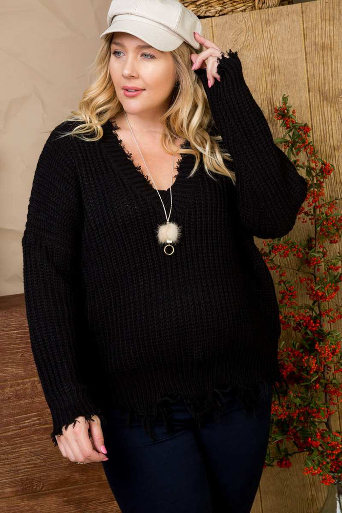 Frayed V-Neck Plus Size Sweater, Black