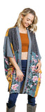 Floral Mixed Print Long Kimono, Honey