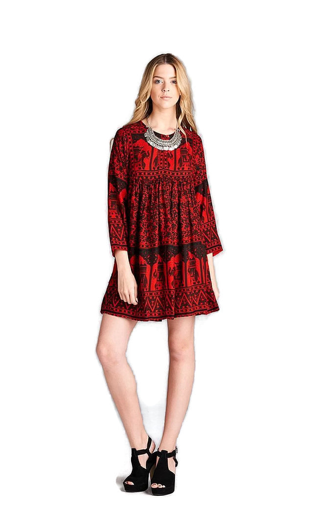 India Print Dress, Red
