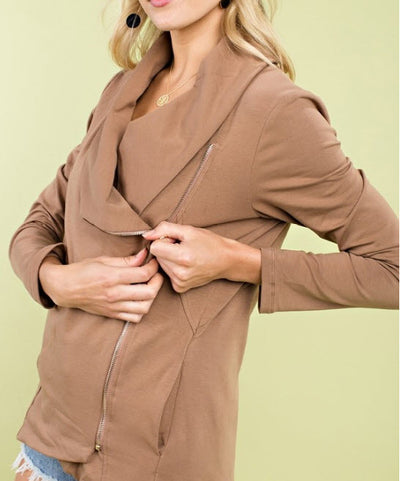 Chic Side Zip Jacket, Chocolate