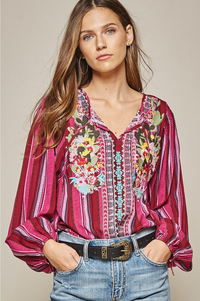 andree by unit savanna jane striped & embroidered peasant top magenta