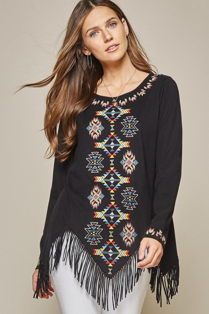 Geo Embroidered Fringe Top