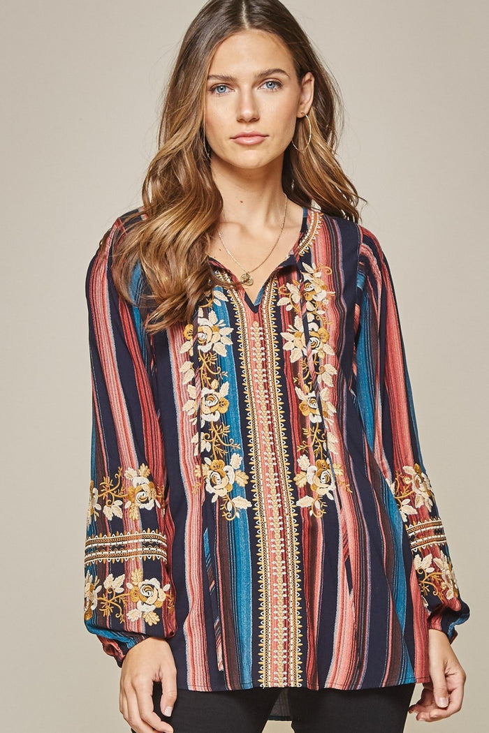 andree by unit / savanna jane striped & embroidered peasant top navy multi