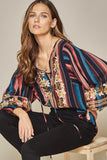Striped & Embroidered Top, Multi