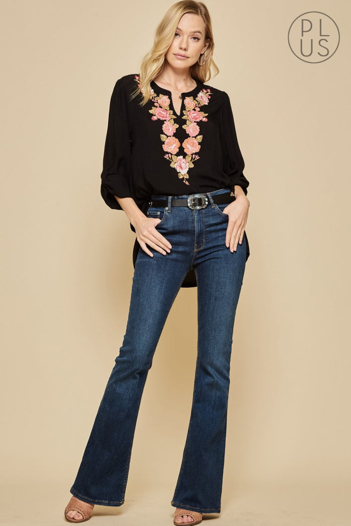 Montego Embroidered Top, Black