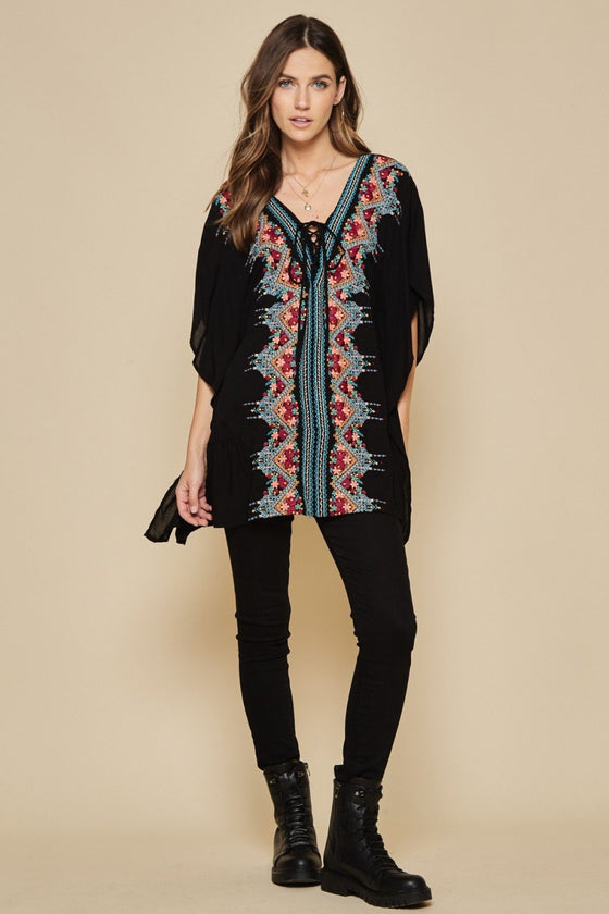 unit by Andree floral embroidered tunic