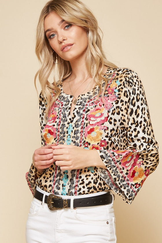 south beach embroidered tunic, leopard