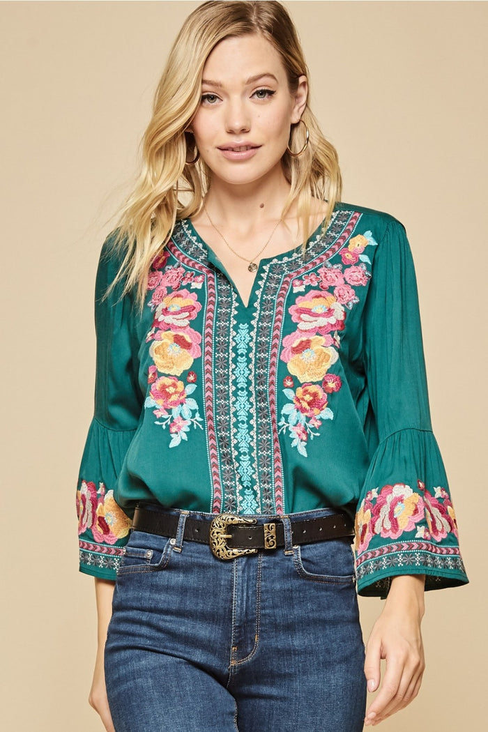South Beach Embroidered Top, Hunter