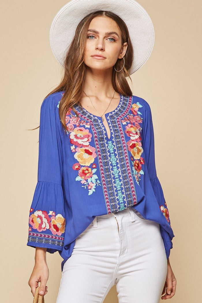 South Beach Embroidered Top, Royal