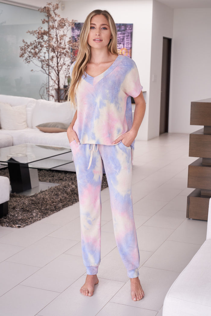 white birch delilah tie dye loungewear set