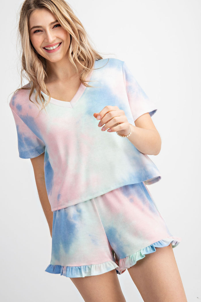 Cotton Candy Tie Dye Short Sleeve Top