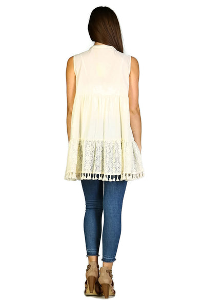 Lace & Fringe Embroidered Sleeveless Dress, Beige