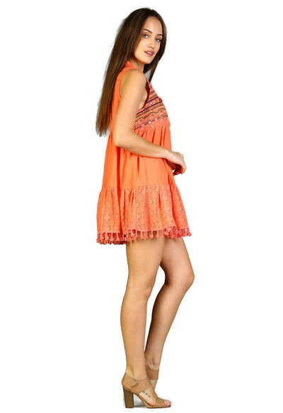 Lace & Fringe Embroidered Sleeveless Dress, Coral