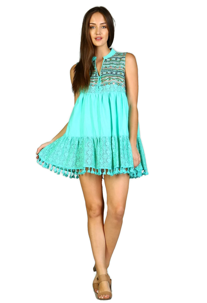 Lace & Fringe Embroidered Sleeveless Dress, Mint