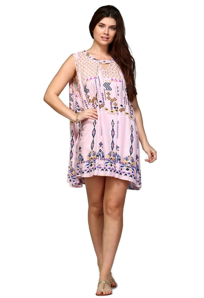 Sleeveless Keyhole Dress, Pink
