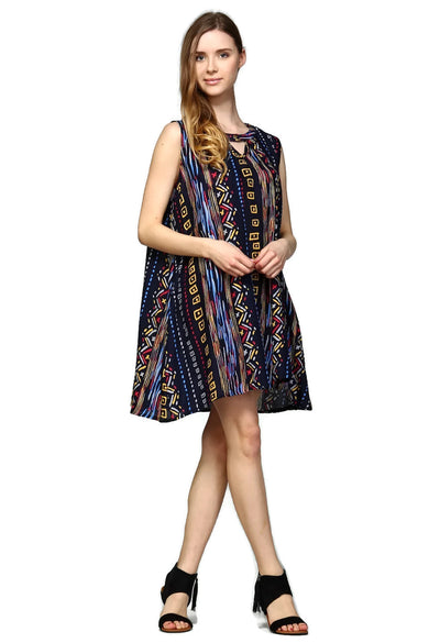 Tribal Sleeveless Keyhole Dress, Blue