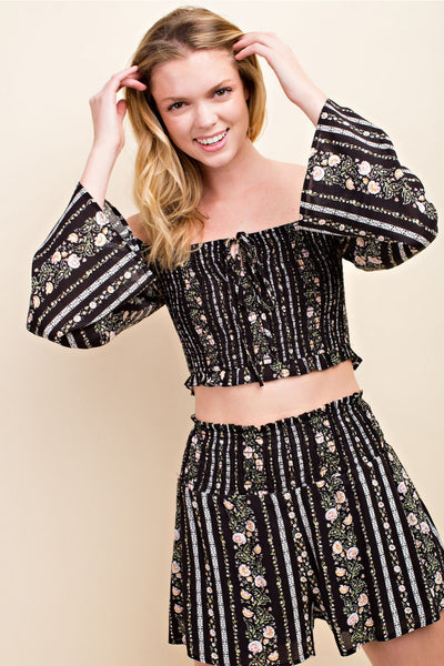 Floral Smocking Top, Black