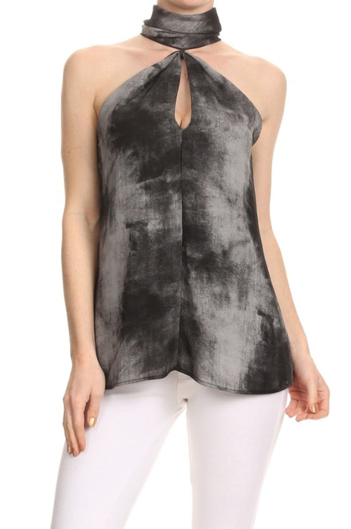 High NeckTie Dye Keyhole Top, Charcoal