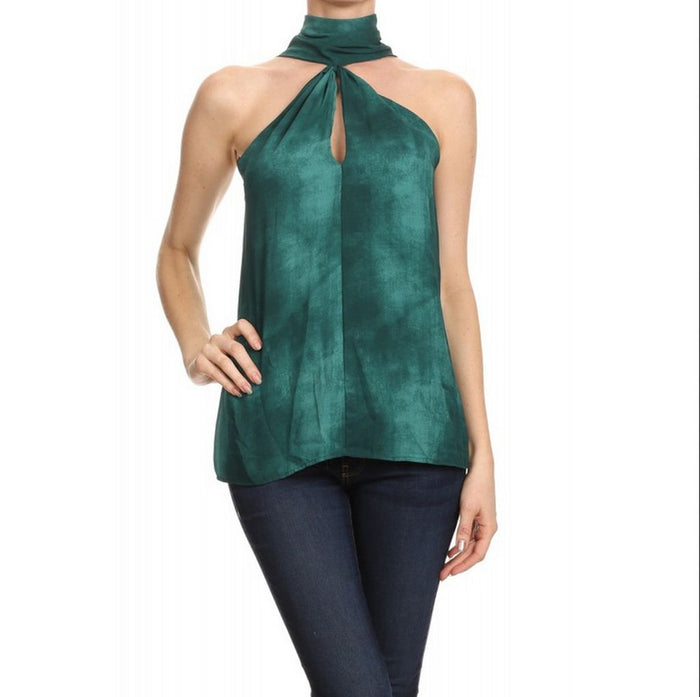 High NeckTie Dye Keyhole Top, Emerald