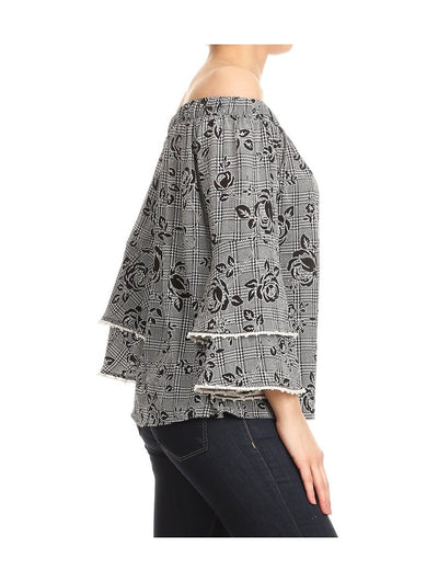 Off the Shoulder Ruffle Sleeve with Pearls Top, Grey